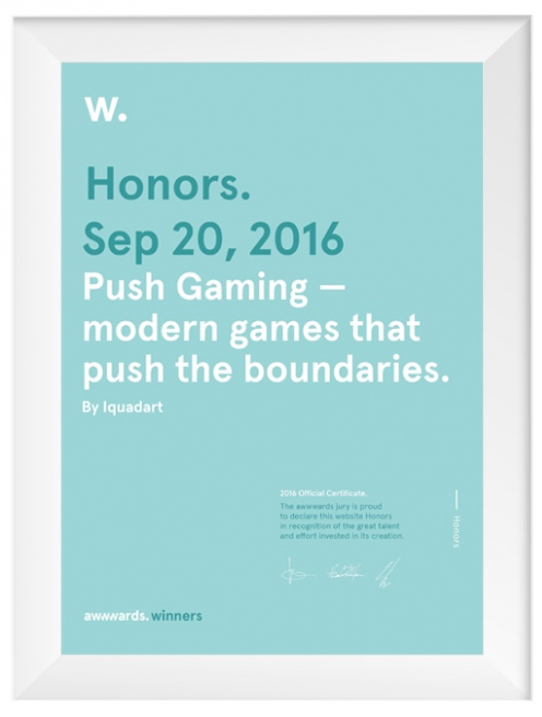Honorable Mention, Awwwards, 2016